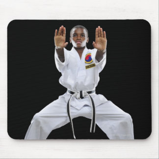 A Boy (15 Years Old) in a Karate Uniform with Mouse Pad