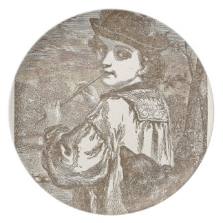 A boy, a flute, and a dog party plate