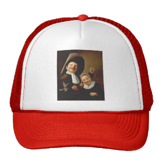 A Boy & a Girl with a Cat,an Eel by Judith Leyster Mesh Hat
