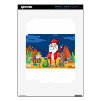 a boy, a reindeer and santaclause skins for iPad 3