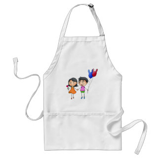 A boy and a gir holding hands adult apron