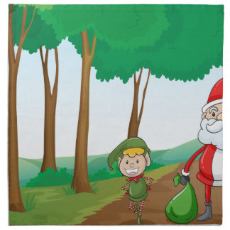 a boy and a santa claus cloth napkin
