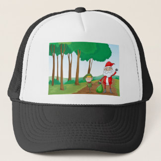 a boy and a santa claus trucker hat