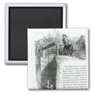 A boy and girl being wound up a mine shaft 2 inch square magnet