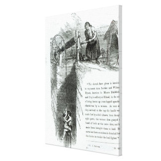 A boy and girl being wound up a mine shaft canvas print