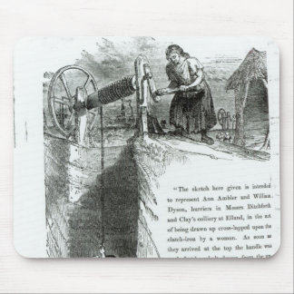 A boy and girl being wound up a mine shaft mouse pad