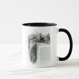 A boy and girl being wound up a mine shaft mug