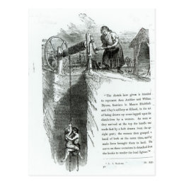 A boy and girl being wound up a mine shaft postcard