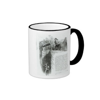 A boy and girl being wound up a mine shaft ringer coffee mug