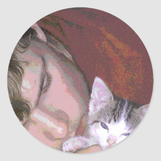A BOY AND HIS CAT CLASSIC ROUND STICKER