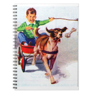 A boy and his dog cart notebook