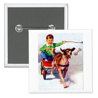 A boy and his dog cart pinback button
