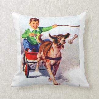 A boy and his dog cart throw pillow