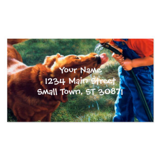 A Boy and his Dog Water Hose Thirst Colorful Pack Of Standard Business Cards