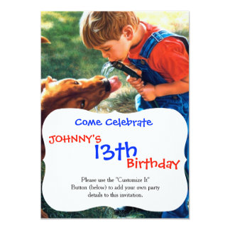 A Boy and his Dog Water Hose Thirst Colorful Card