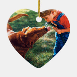 A Boy and his Dog Water Hose Thirst Colorful Ceramic Ornament