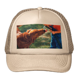 A Boy and his Dog Water Hose Thirst Colorful Trucker Hat