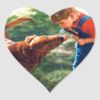 A Boy and his Dog Water Hose Thirst Colorful Heart Sticker
