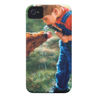 A Boy and his Dog Water Hose Thirst Colorful iPhone 4 Cases