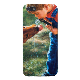 A Boy and his Dog Water Hose Thirst Colorful iPhone SE/5/5s Cover