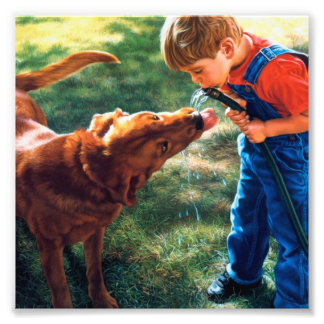 A Boy and his Dog Water Hose Thirst Colorful Photo Print