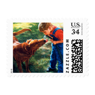 A Boy and his Dog Water Hose Thirst Colorful Postage