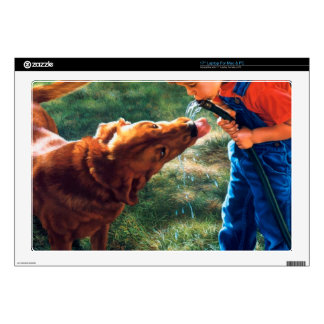 """A Boy and his Dog Water Hose Thirst Colorful Decal For 17"""" Laptop"""