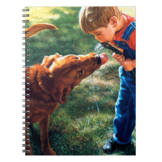 A Boy and his Dog Water Hose Thirst Colorful Spiral Notebook