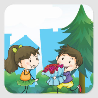 A boy and his girlfriend at the hill square sticker