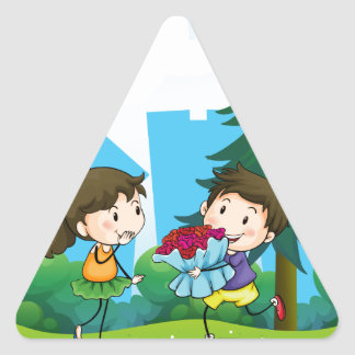 A boy and his girlfriend at the hill triangle sticker