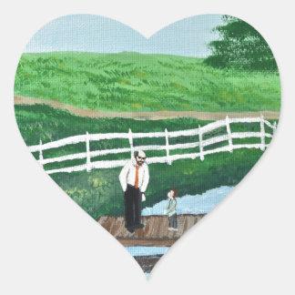 A boy and his grandpa heart sticker