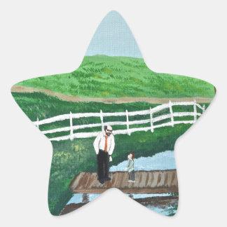A boy and his grandpa star sticker