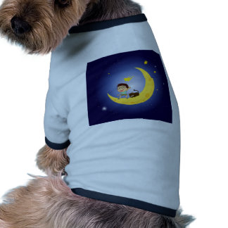A boy and his pet at the moon doggie t-shirt