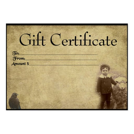 A Boy And His Sheepy- Prim Gift Certificate Cards Business Cards