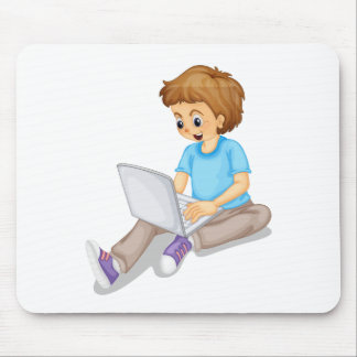 a boy and laptop mouse pad