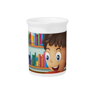 A boy carrying a pile of books beverage pitchers