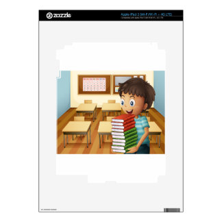 A boy carrying a pile of books decal for iPad 3