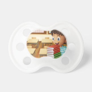 A boy carrying a pile of books pacifier