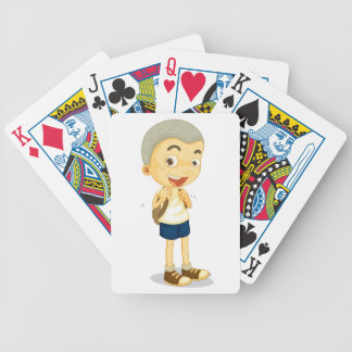 a boy carrying schoolbag bicycle playing cards