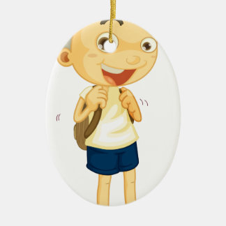 a boy carrying schoolbag Double-Sided oval ceramic christmas ornament