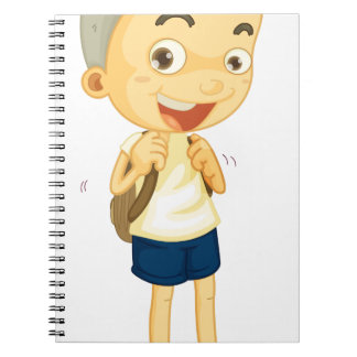 a boy carrying schoolbag note books
