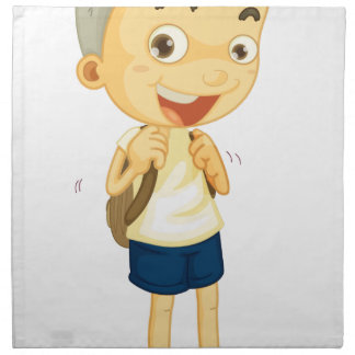 a boy carrying schoolbag printed napkins