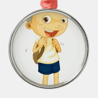 a boy carrying schoolbag round metal christmas ornament