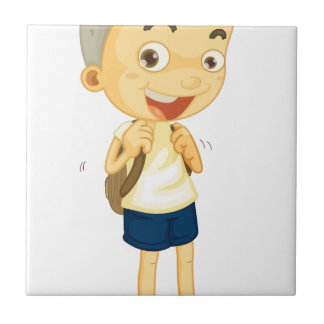 a boy carrying schoolbag small square tile