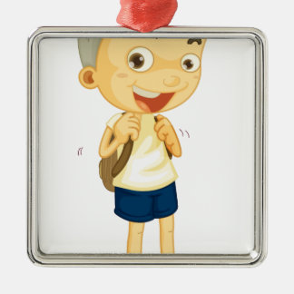 a boy carrying schoolbag square metal christmas ornament