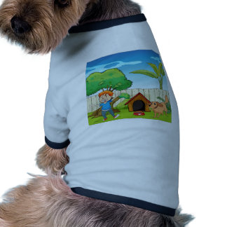 A boy dancing along with the dog dog tee