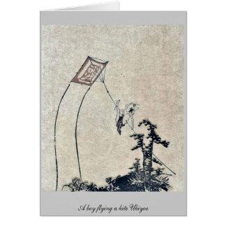 A boy flying a kite Ukiyoe Stationery Note Card
