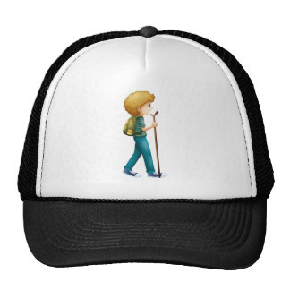 A boy hiking with a wood trucker hat