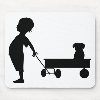A BOY HIS WAGON AND HIS DOG MOUSE PAD