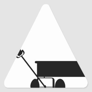 A BOY HIS WAGON AND HIS DOG TRIANGLE STICKER